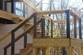 metal handrails for deck stairs. the stairs required 3 separate runs metal handrails for deck