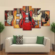 on guitar canvas wall art red with 5 panel weilne guitar canvas wall art octotreasure