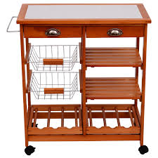 Kitchen Trolley Homcom Wooden Kitchen Trolley Cart Drawers Wood Fruit Vegetable