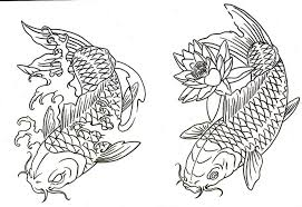 Small Picture Drawn koi carp coloring page Pencil and in color drawn koi carp