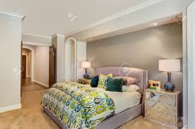 New Bedroom Furnished Master Bedroom In New Home Stock Photo Picture And