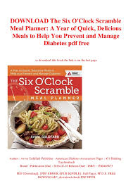 Diabetic Meal Planner Free Download The Six Oclock Scramble Meal Planner A Year Of