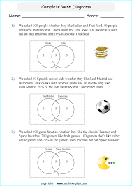 Complete Venn Diagrams Printable Grade 6 Math Worksheet