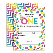 Polka Dot Invitations Rainbow Polka Dot 1st Birthday Party Invitations