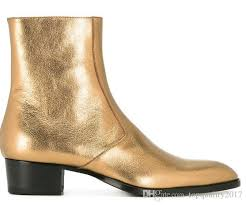 classic western boot in gold metallic leather ankle boots fall chelsea boots zipper mens leather sole