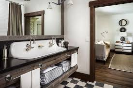 country style bathroom with reclaimed wood sink vanity with trough