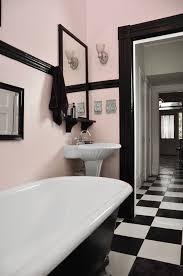 gorgeous light pink and black retro bathroom