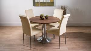 large round walnut dining table and real leather dining chairs