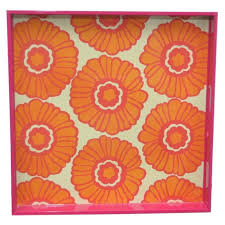 Rock Paper Flower Trays Orange Pink Daisy Lacquer Tray New At The Hour Pinterest