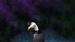 wallpaper night anime water nature neon genesis evangelion ikari shinji sky rain stars alone universe midnight tree star darkness