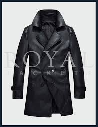 mens double ted long leather jacket