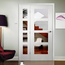 internal white primed shaker 4l door with clear glass gwpsha4l