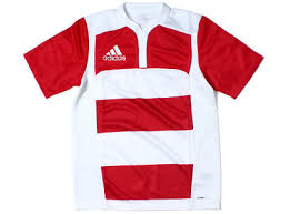 adidas rugby team wear hooped rugby shirt
