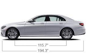 Width measurements are indicated without outside mirrors and in brackets with mirrors unfolded. The Mid Size E Class Sedan Mercedes Benz Usa