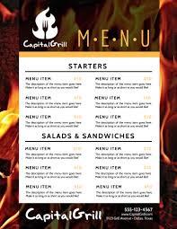 Restaurant Menu Template Fire Restaurant Menu Template