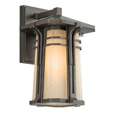 kichler 49175fl craftsman mission single light um fluorescent outdoor wall sconce from the north creek