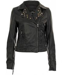 gold stud fold over collar pvc black biker jacket