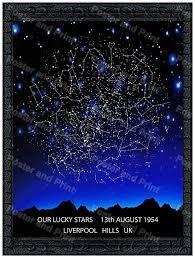 Custom Star Map Constellation Map Print Star Chart Night