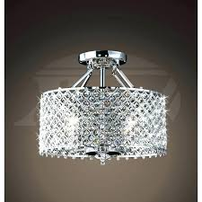 small flush mount chandelier silver drum shade and rich crystal rainfall flush mount chandelier small flush