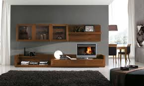 Living Room:Contemporary Open Living Room With Black Wall Units And Storage  Room Divider Luxury