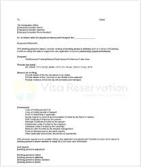 invitation letter visa sle