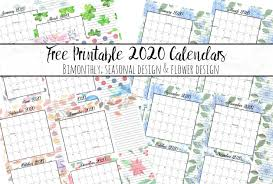 Small Printable 2020 Calendar Free Printable 2020 Bimonthly Calendars With Holidays 2 Designs
