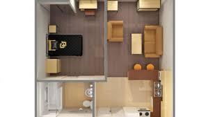 apartment 1 bedroom. 3d view of 1-bed 1-bath, single apartment 1 bedroom