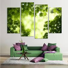 Painting Canvas For Living Room Online Get Cheap Green Leaf Painting Aliexpresscom Alibaba Group