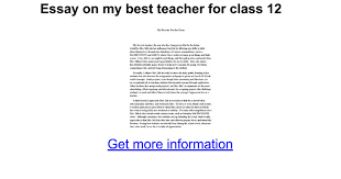 essay on my best teacher for class google docs