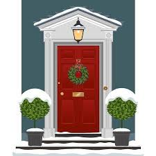 christmas front door clipart. Delighful Front Red Painted Front Door With Christmas Wreath In The Snow On Front Door Clipart P