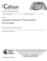 Acquisition Research The Foundation For Innovation Nps