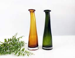Modern Glass Vases Tall Glass Vases Vintage Green And Yellow Amber Hand Blown