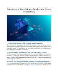 Questions To Ask Clients For Graphic Design 8 Questions To Ask A Software Development Service Before