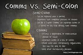 when is a comma used comma vs semi colon writingscape