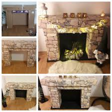 how to make a cardboard fireplace prop image and kitchen