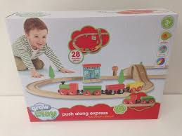 sainsbury s grow play push along express wooden train set age 3 new
