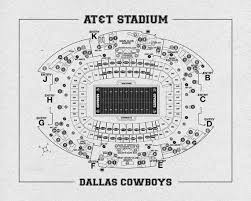 Print Of Vintage Dallas Cowboys At T Stadium Seating Chart Seating Chart On Photo Paper Matte Paper Or Canvas