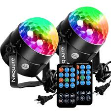 Amazon.com: [2-PACK]Nequare Party Lights Sound Activated Disco Ball Strobe  Light 7 Lighting Color Disco Lights with Remote Control for Bar Club Party  DJ ...