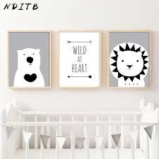 NDITB <b>Woodland Animal</b> Lion Bear <b>Canvas</b> Art Posters <b>Cartoon</b> ...