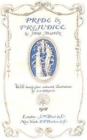 pride and prejudice  title page of a 1907 edition illustrated by c e brock