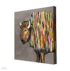 bison on putty wall art metal