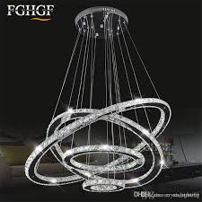 modern led diamond ring chandeliers k9 crystal chrome mirror finish stainless steel room hanging lamp led diy chandelier res lighting at home silver