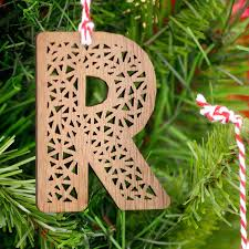 personalised real walnut wooden letter xmas decoration