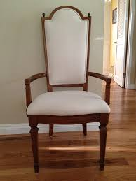 thomasville dining room chair that had torn cane back and worn out blue fabric seat reupholstered