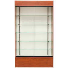tall retail wall display shelves glass
