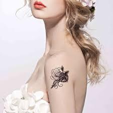 черное кружево любовь замок шаблон талии живота татуировки наклейки прочный