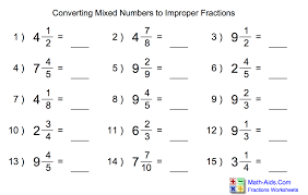 Change Improper Fractions To Mixed Numbers Worksheet Worksheets ...