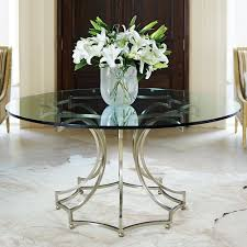 miramont glass top steel round dining table in argento