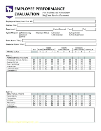 Restaurant Employee Evaluation Template Form Free
