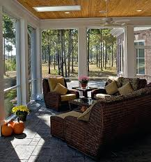 comfy brown wooden sunroom furniture paired.  Paired Designs Ideas With Brown Wicker Furniture And Small Table Also Plaid Floor Wood  Sunroom Comfy  Throughout Comfy Brown Wooden Sunroom Furniture Paired M